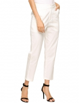 White Flat Front Solid Relaxed Fit Ankle Pants with Pockets