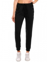 Black Drawstring Elastic Waist Criss Cross Solid Casual Jogger Pants