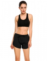 Black Drawstring Waist Solid Summer Casual Sports Shorts