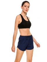 Dark blue Drawstring Waist Solid Summer Casual Sports Shorts
