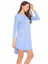 Light blue Femmes Casual Rayon à manches longues Solid O Neck Split Loose Dress