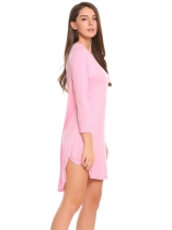 Misty Rose Rayon Long Sleeve Solid O Neck Split Loose Dress