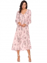 Pink Long Sleeve Floral Loose Maxi Dress