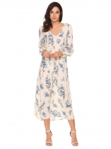 Beige Long Sleeve Floral Loose Maxi Dress
