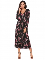 Black Long Sleeve Floral Loose Maxi Dress