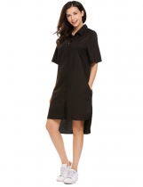 Black Solid Boyfriend High-Low Hem Oversize Shirt Dress
