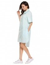 Light blue Solid Boyfriend High-Low Hem Oversize Shirt Dress