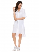 White Solid Boyfriend High-Low Hem Oversize Shirt Dress