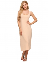 Nude Sleeveless Scoop Neck Side Pockets Tank Dress