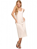 White Sleeveless Scoop Neck Side Pockets Tank Dress
