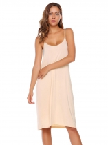 Apricot Spaghetti Straps Solid Sleeveless Shift Dress