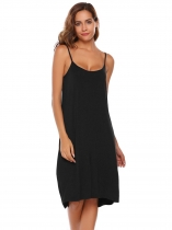 Black Spaghetti Straps Solid Sleeveless Shift Dress