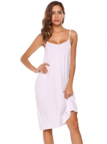 White Spaghetti Straps Solid Sleeveless Shift Dress
