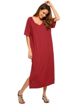 Vinho rouge Femmes Casual Short Sleeve Solid O Neck Loose Pullover Raglan Big Tee Dress