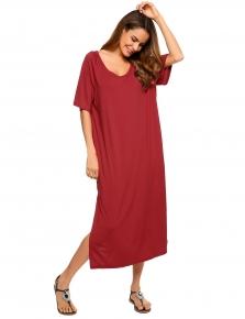 e057f32f4db7 Wine red Short Sleeve Solid Loose Split Hem Tee Dress