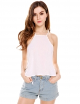 Weiß Frauen Casual Square Collar Solid Side Cross-Riemen Pullover Chiffon Cami Top