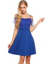 Blue Cold Shoulder Ruffle Sleeve Layered Polka Dot Dress