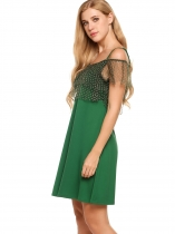 Green Cold Shoulder Ruffle Sleeve Layered Polka Dot Dress