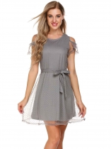 Grey Patchwork Solid Cold Shoulder Dress with Belt