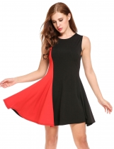 Rojo Mujeres sin mangas Contraste Color Patchwork Elegante Swing Dress