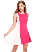Rose red Sleeveless Contrast Color Patchwork Elegant Swing Dress