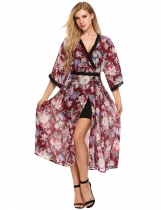 Wine red Loose V Neck Floral Maxi Chiffon Dress Beach Cover-up