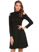 Black Cold Shoulder Long Sleeve Solid Short Dress