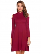 Wine red Cold Shoulder Long Sleeve Solid Short Dress