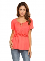 Watermelon red Drawstring Elastic Waist Ruffles Short Sleeve Casual Tops