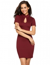 Wine red Keyhole Short Sleeve Solid Slim Pencil Dress