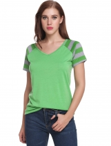 Green V-Neck Short Sleeve Striped Patchwork Pullover Elastic T-Shirt
