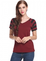 Wine red V-Neck Short Sleeve Striped Patchwork Pullover Elastic T-Shirt