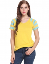 Yellow V-Neck Short Sleeve Striped Patchwork Pullover Elastic T-Shirt