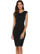 Black O-Neck Package Hip Back Zipper Sexy Dress