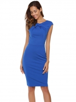Royal Blue O-Neck Package Hip Back Zipper Sexy Dress