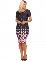 Pink O-Neck Short Sleeve Prints Package Hip Bodycon Dress