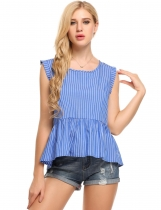 Blue Stripes O-Neck Sleeveless Ruffles Loose Cotton Tops
