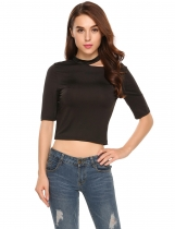 Black Choker Collar Cut Out Short Sleeve Short Sexy Tops