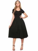 Black Vintage Style Sweetheart Neck Short Sleeve Solid Pleated Dress