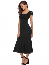 Black Cap Sleeve Lace Patchwork Fishtail Dress