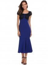 Navy blue Cap Sleeve Lace Patchwork Fishtail Dress