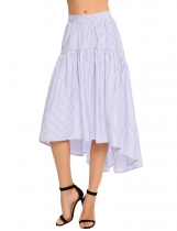 Blue Striped Side Zipper A-Line Asymmetrical Hem Skirt