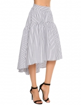 Navy blue Striped Side Zipper A-Line Asymmetrical Hem Skirt
