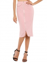 High Waist Zipper Solid Midi Pencil Skirt
