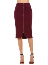 Wine red High Waist Zipper Solid Midi Pencil Skirt