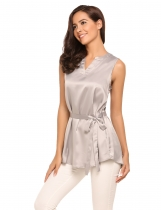 Grey V-Neck Sleeveless Solid Satin Tops with Belt