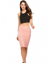 Women High Waist Ruched Package Hip Bodycon Mini Skirt Casual Club