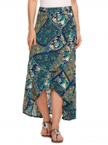 Brown High Waist Split Front Tribal Print Asymmetric Hem Skirt