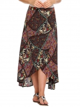 Green High Waist Split Front Tribal Print Asymmetric Hem Skirt