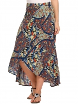 Blue High Waist Split Front Tribal Print Asymmetric Hem Skirt